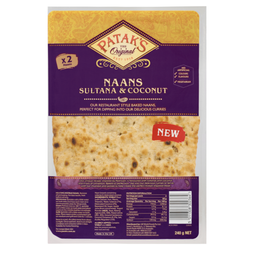 Patak's Naans Sultana & Coconut 240g 2 Pack