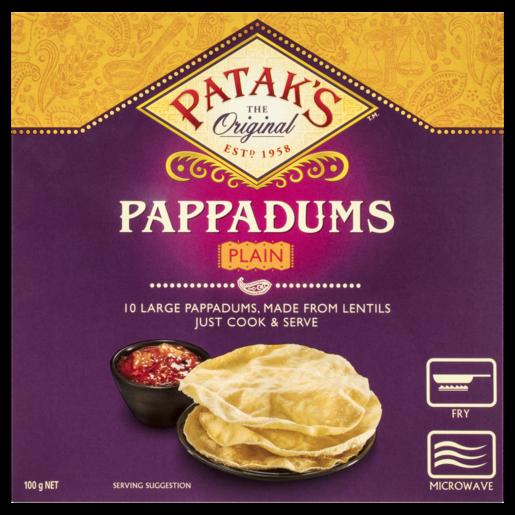 Patak's Pappadums Plain 100g