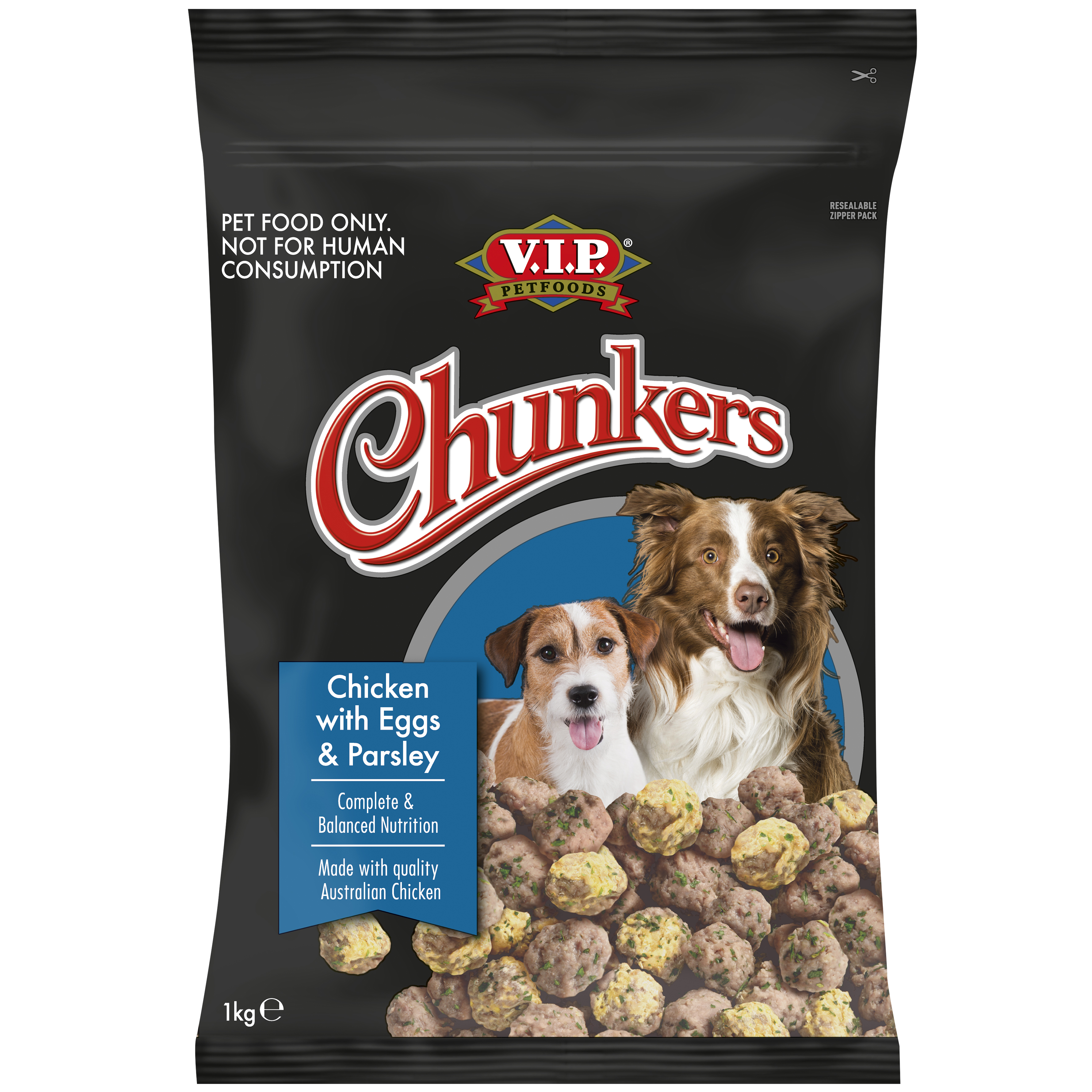 V.I.P. Petfoods | Chicken with Scrambled Eggs & Parsley 1kg | Chilled dog food | Front of pack