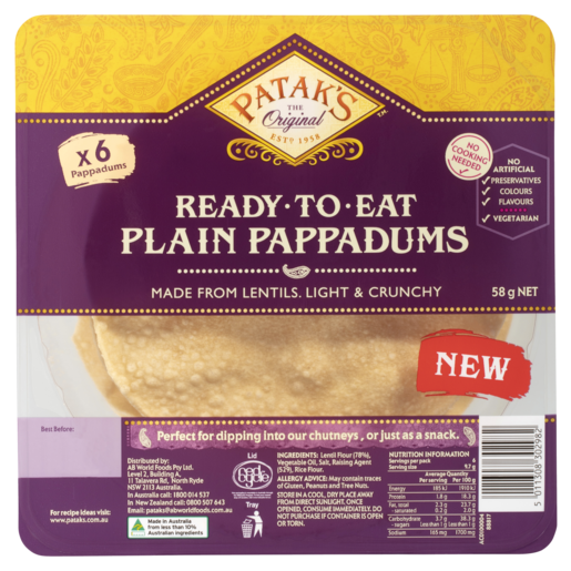 Patak's Ready to Eat Plain Pappadums 58g 6 Pack
