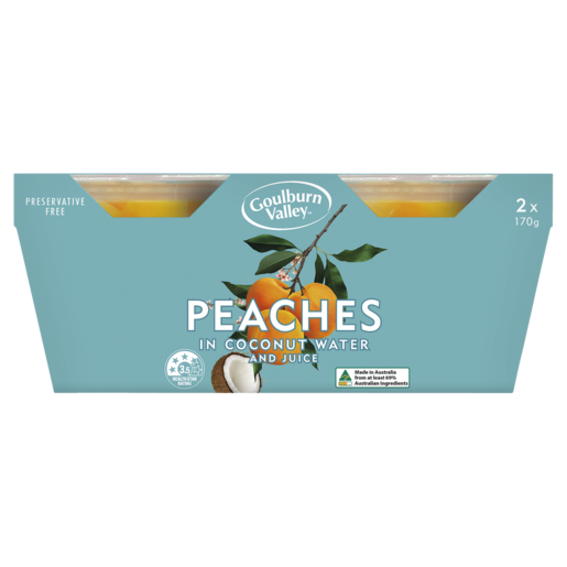 Goulburn Valley Peaches In Coconut Water And Juice 2 x 170g