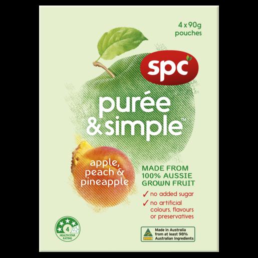 SPC Puree & Simple Apple, Peach & Pineapple 4 x 90g