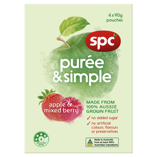 SPC Puree & Simple Apple & Mixed Berry 4 x 90g