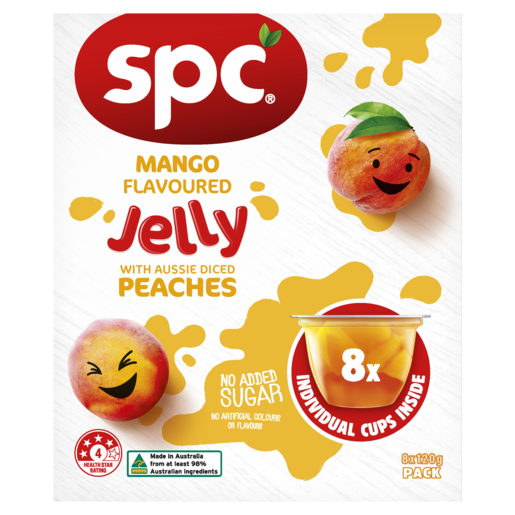 SPC Mango Flavoured Jelly with Aussie Diced Peaches 8 x 120g