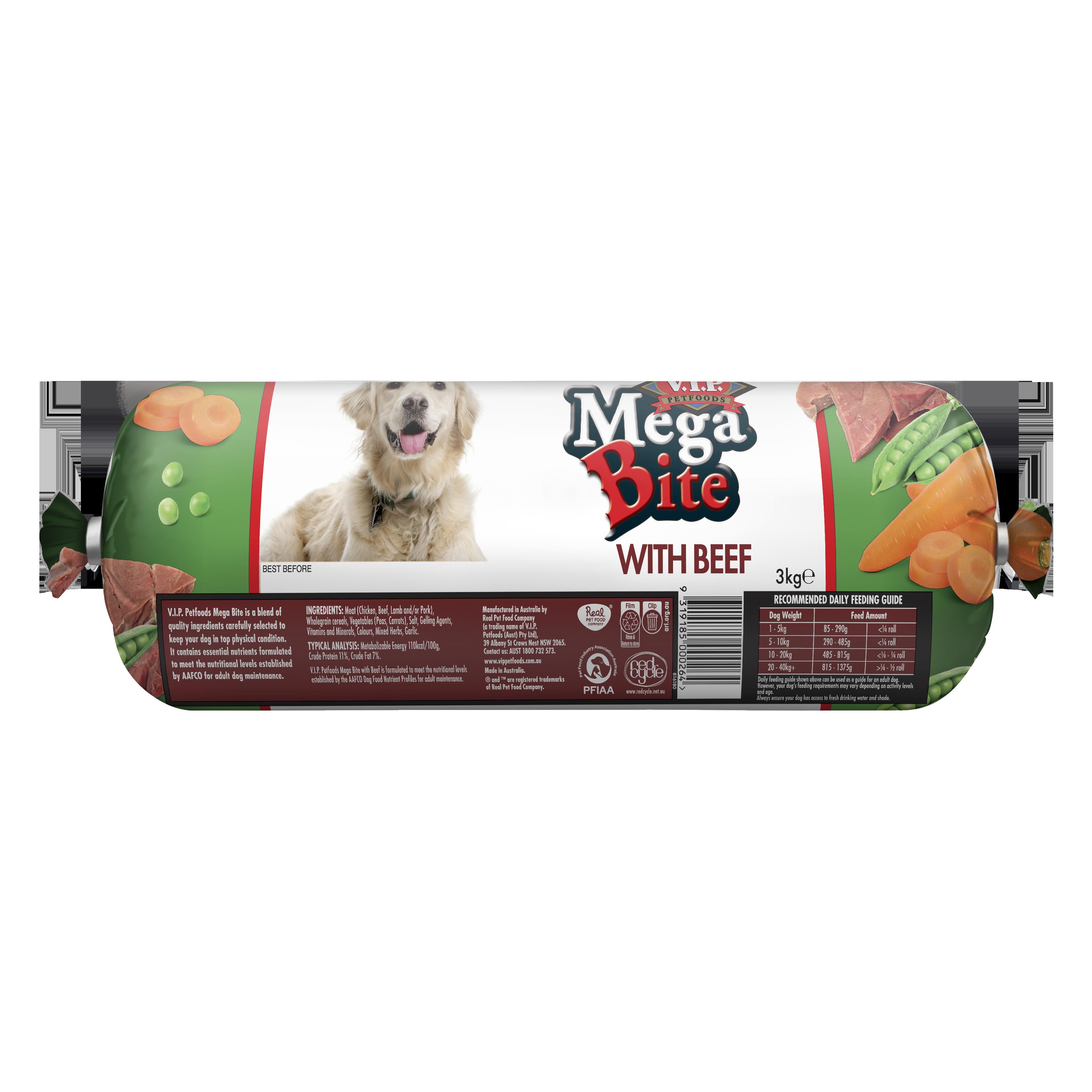 V.I.P. Petfoods | Mega Bite with Prime Beef 3kg | Chilled tray | Back of pack