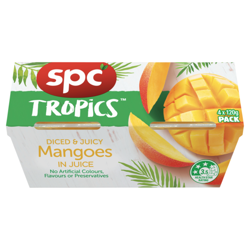 SPC Tropics Mangoes In Juice 4 x 120g