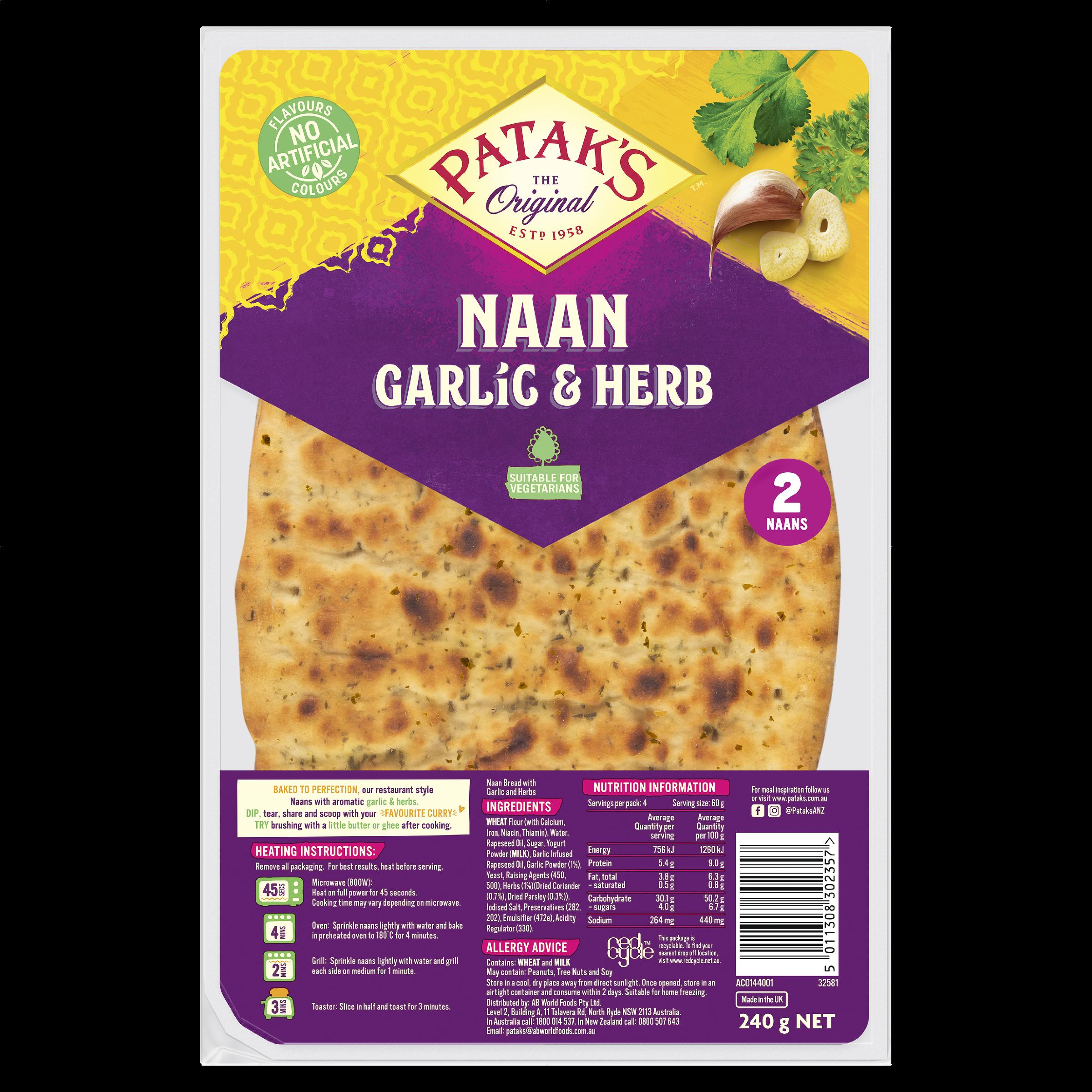 Patak's Naans Garlic & Herb 240 g