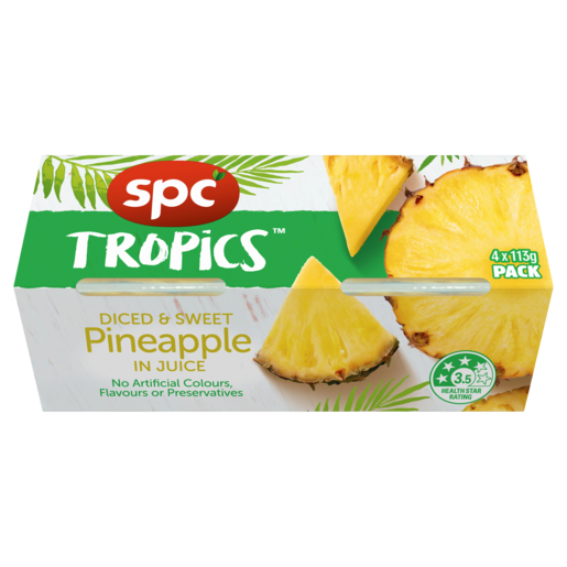 SPC Tropics Diced & Sweet Pineapple in Juice 4 x 113g