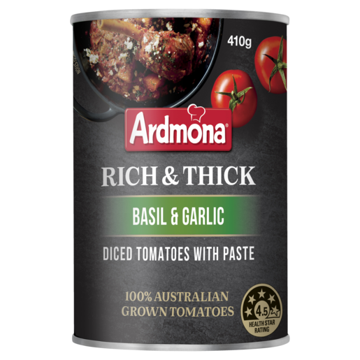 Ardmona Rich & Thick Diced Tomatoes with Paste Basil & Garlic 410g