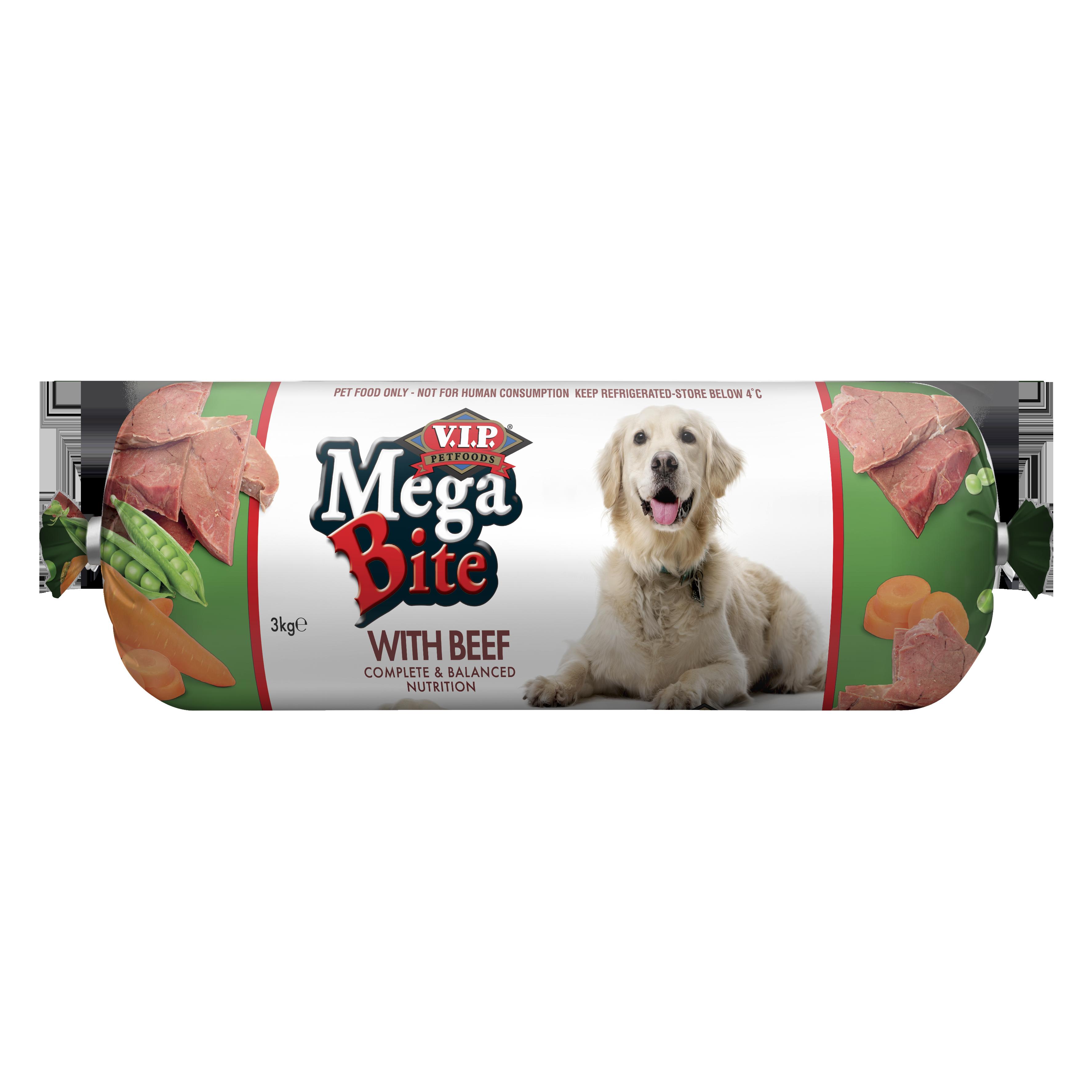 V.I.P. Petfoods | Mega Bite with Prime Beef 3kg | Chilled tray | Front of pack