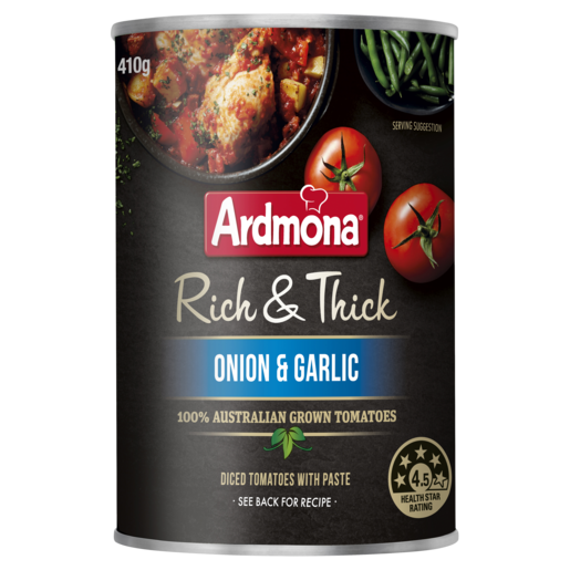 Ardmona Rich & Thick Chopped Tomatoes Onion & Garlic 410g
