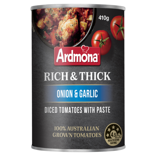 Ardmona Rich & Thick Diced Tomatoes with Paste Onion & Garlic 410g