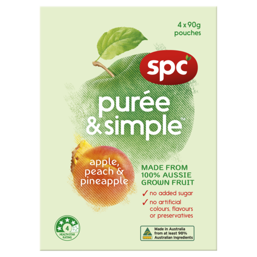 SPC Puree & Simple Apple, Peach & Pineapple 4 x 90g