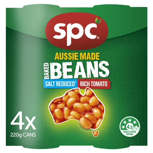 SPC Baked Beans Salt Reduced Rich Tomato 4 x 220g