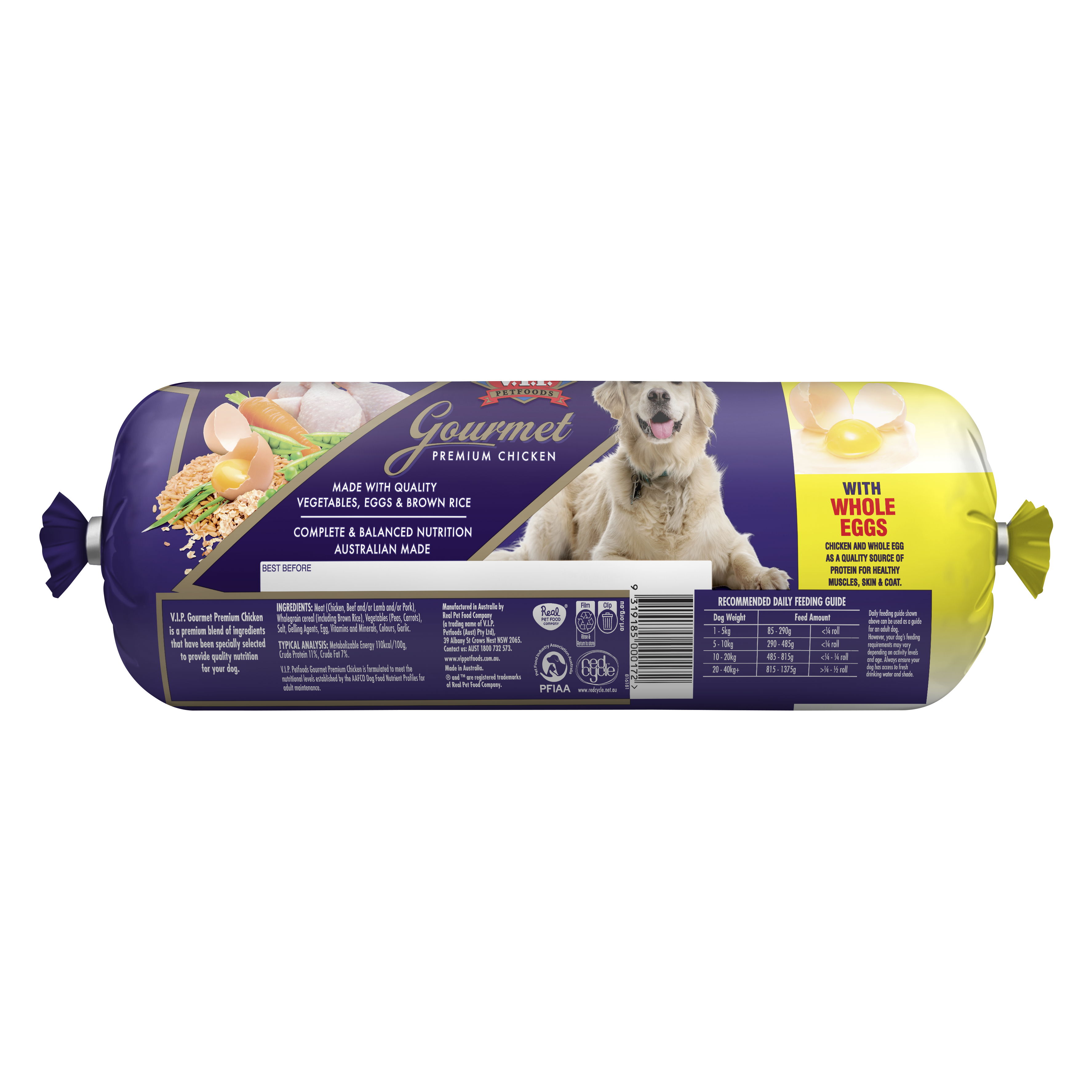 V.I.P. Petfoods   Gourmet Premium Chicken 3kg   Chilled tray   Back of pack