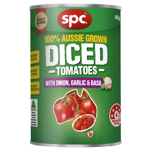 SPC Diced Tomatoes with Onion Garlic & Basil 400g