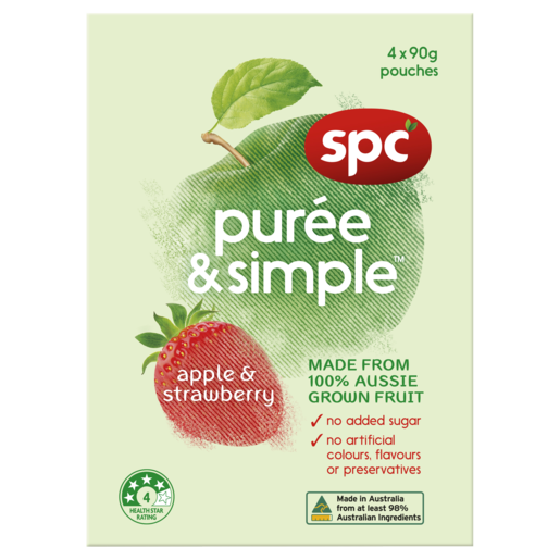 SPC Puree & Simple Apple & Strawberry 4 x 90g