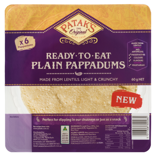 Patak's Plain Pappadums 60g 6 Pack
