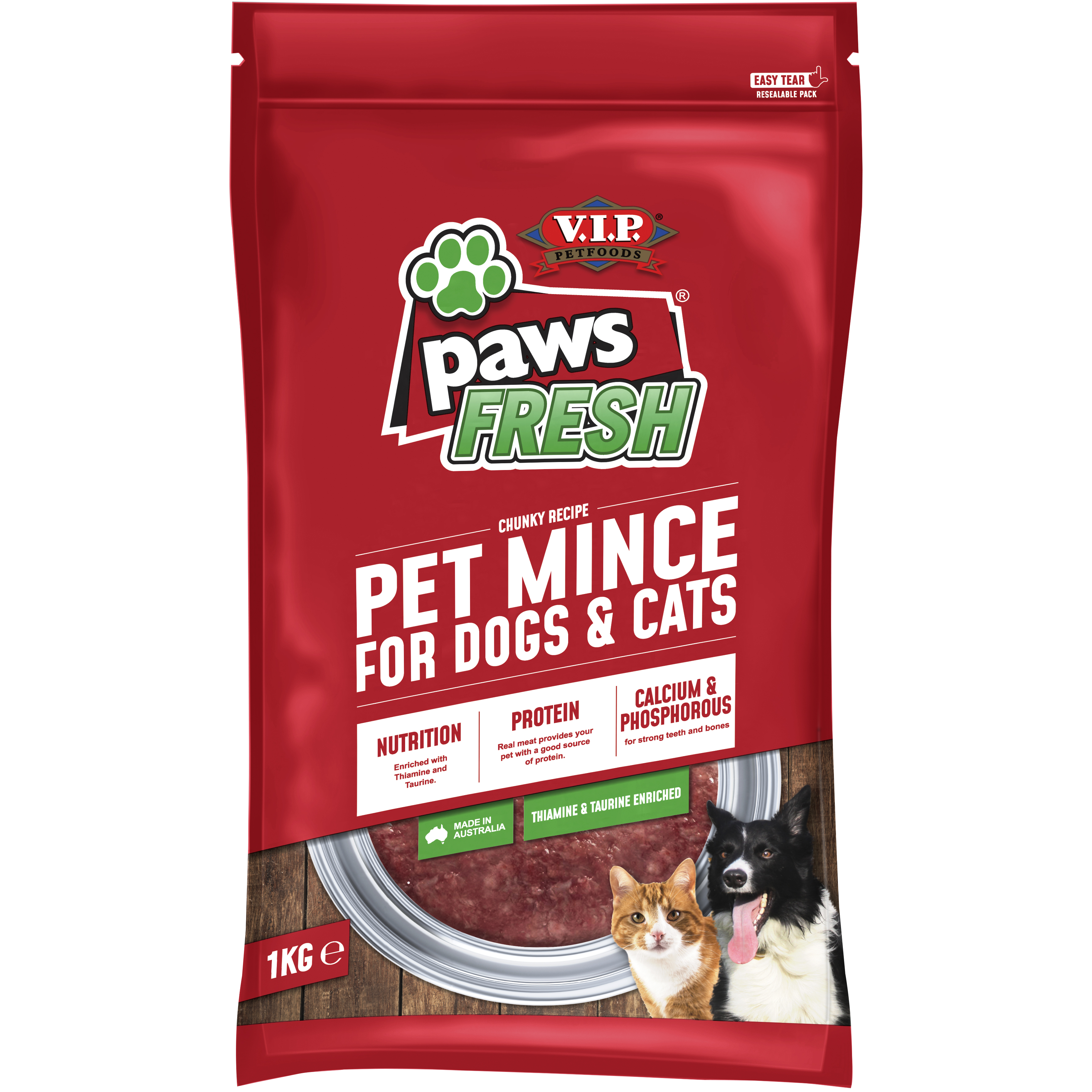 V.I.P. Petfoods | Pet Mince for Dogs & Cats 1kg | Chilled single | Front of pack
